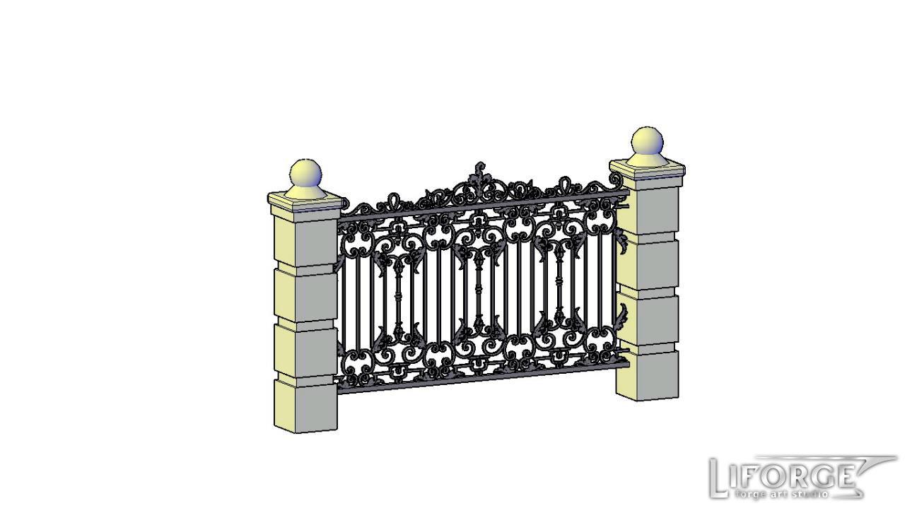 Кованый забор №015