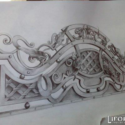 Кованый забор №009