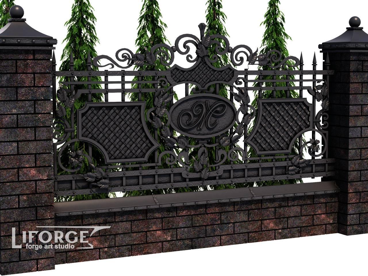Кованый забор №025
