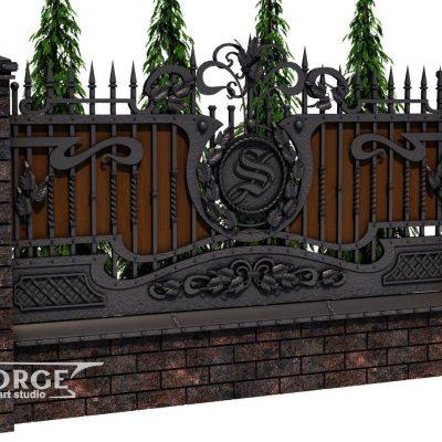 Кованый забор №029